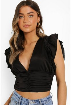 Black Satin Plunge Ruched Front Blouse