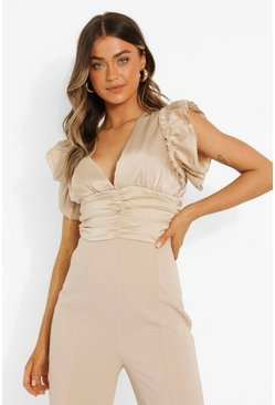Cream Satin Plunge Ruched Front Blouse