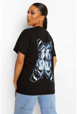 Black Butterfly Back Print Oversized T-shirt