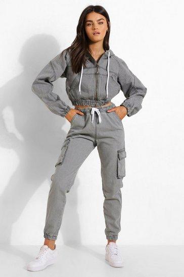 Grey Cuffed Denim Joggers With Pockets