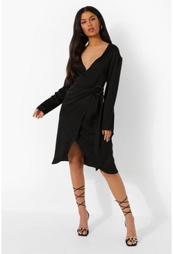 Midi Satin Wrap Shirt Style Dress, Black negro