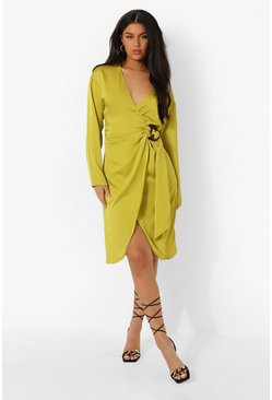 Chartreuse yellow Midi Satin Wrap Shirt Style Dress