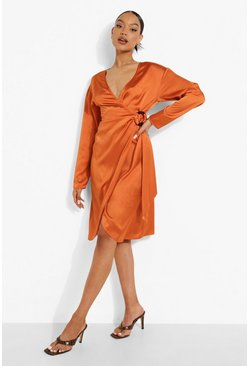 Rust orange Midi Satin Wrap Shirt Style Dress