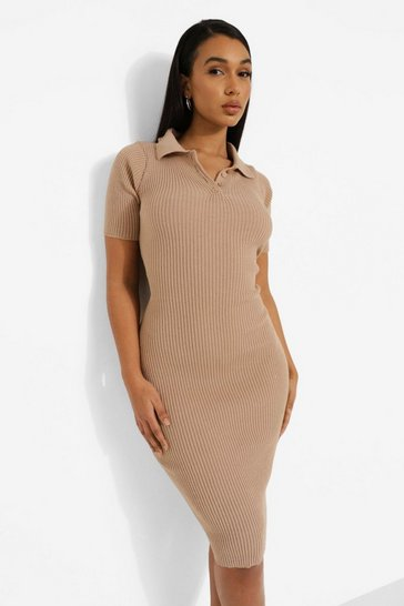 Stone beige Short Sleeve Polo Collar Dress