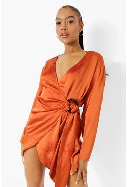 Satin Wrap Shirt Style Dress, Rust naranja