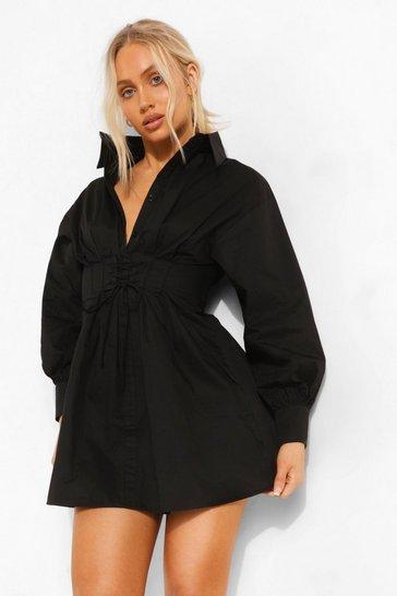 Lace Up Corset Detail Shirt Dress