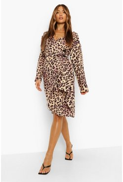 Leopard Midi Satin Wrap Shirt Style Dress, Brown marrón