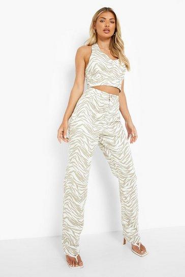 Khaki High Waist Zebra Print Straight Leg Jeans