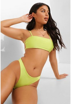 Tropicana Strappy Bandeau Bikini Top , Lime grün