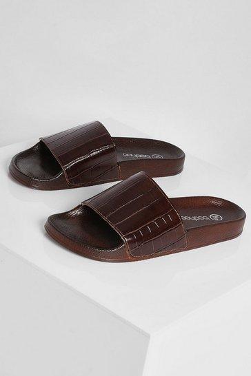Chocolate brown  Croc Sporty Slider