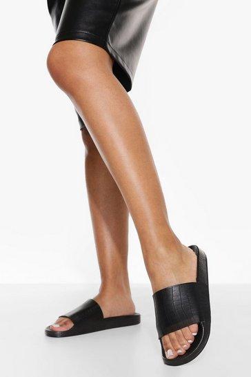 Black Croc Sporty Slider