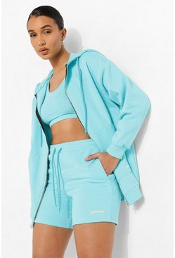 Blue Embroidered 3 Piece Short Tracksuit
