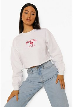 White Malibu Cropped Embroidered Sweatshirt