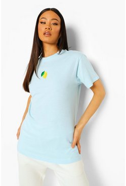 Pale blue blue Lemon Embroidered T Shirt