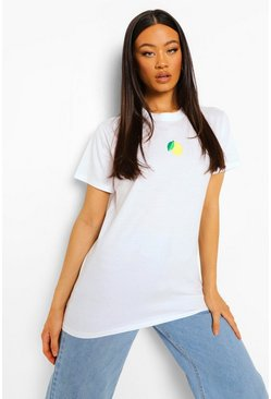 White Lemon Embroidered T Shirt