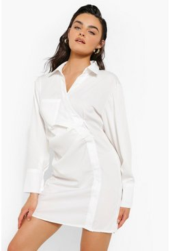 Ivory white Ruched Side Pocket Detail Shirt Dress