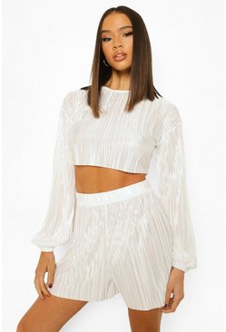 Ivory white Plisse Volume Sleeve Crop & Shorts