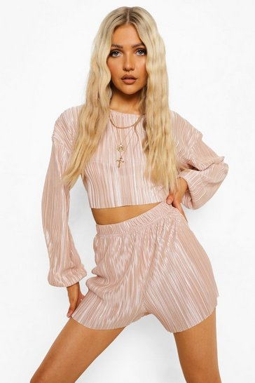 Sand beige Plisse Volume Sleeve Crop & Shorts