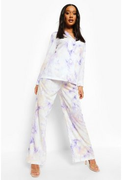 Lilac lila Pastel Tie Dye Relaxed Fit Wide Leg Trousers