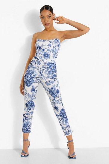 Royal blue Floral Print Corset & Slim Fit Trousers