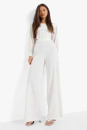 Ivory white Volume Sleeve Corset & Wide Leg Trousers