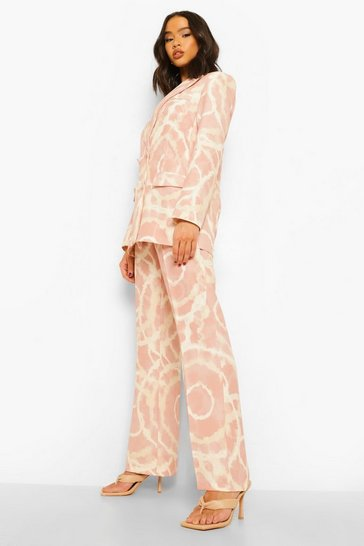Blush pink Tonal Tie Dye Slim Fit Trousers