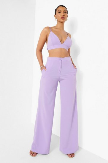 Lilac purple Matte Satin Wide Leg Trousers