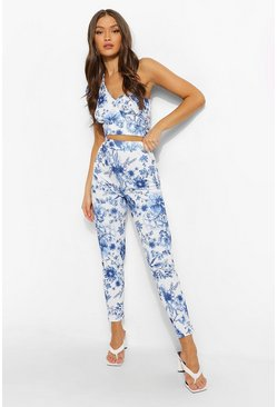 Floral Print Skinny Trousers, Royal azul