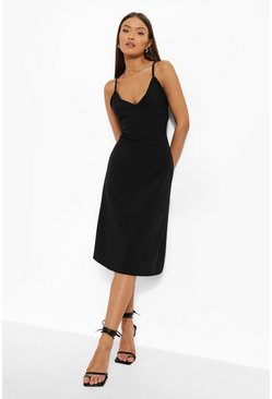 Black Matte Satin Cami Slip Dress