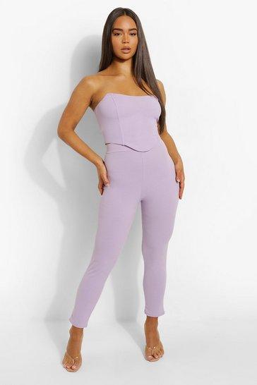 Lilac purple Bandeau Corset & Slim Fit Trousers