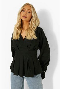 Black Volume Sleeve Pleat Front Blouse