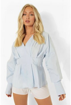 Powder blue Volume Sleeve Pleat Front Blouse