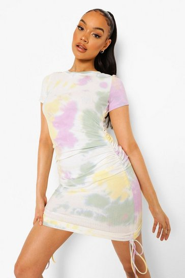 Orange Tie Dye Ruched T Shirt Dress