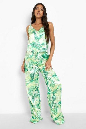 Green Tall Satin Tropical Print Pj Trouser Set