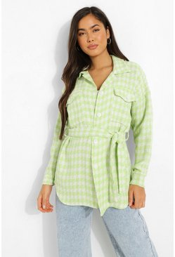 Lime green Dogtooth Belted Shacket