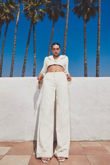 Ecru white Tailored Wide Leg Denim Jeans