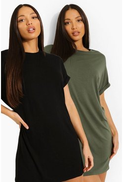Khaki Tall Oversized T-shirt Dress 2 Pack