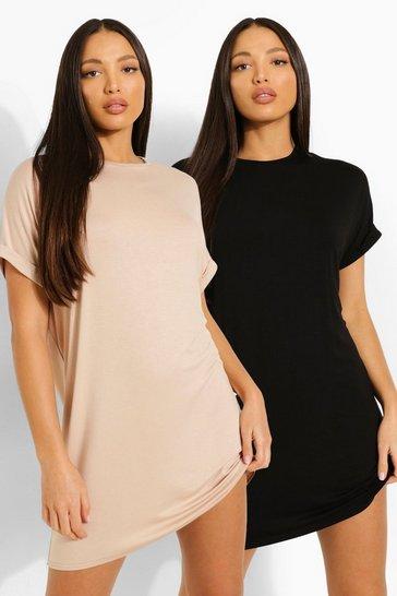 Stone beige Tall Oversized T-shirt Dress 2 Pack