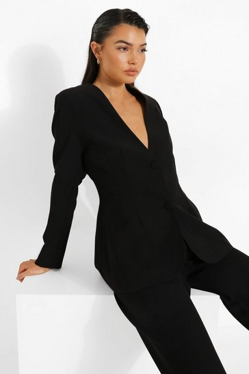 Black Tailored Open Back Fitted Blazer