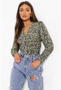 Woven Printed Ruched Top, Green verde