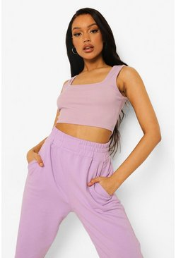 Lilac purple Crinkle Square Neck Crop Top