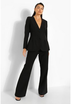 Black Tailored Fit & Flare Trousers
