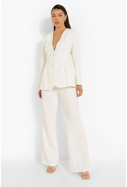 Ivory white Tailored Fit & Flare Trousers