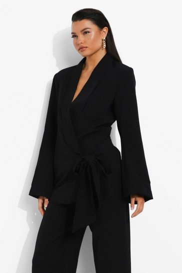 Black Drape Tie Side Tailored Blazer