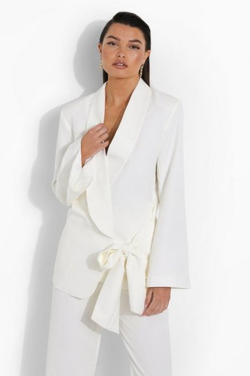 Ivory white Drape Tie Side Tailored Blazer