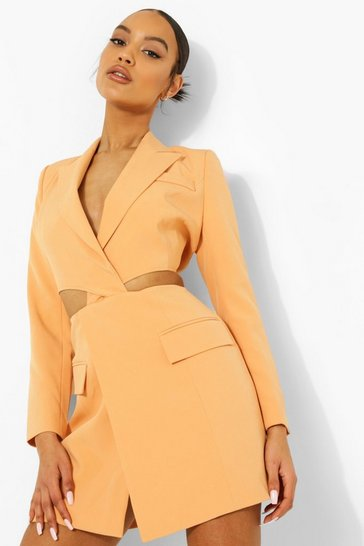 Orange Tailored Knot Front Open Back Blazer