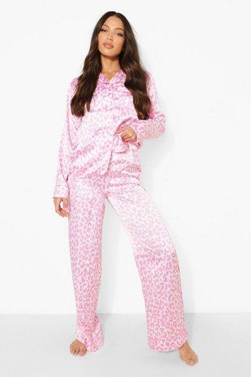 Pink Tall Satin Leopard Pj Trouser Set
