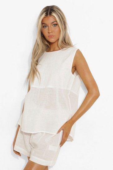 White Tall Linen Look Tie Back Top & Short Pj Set