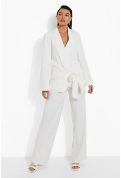 Ivory white Tailored Wide Leg Trousers