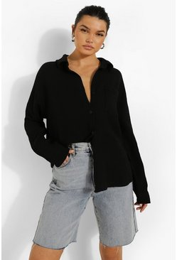 Black Textured Oversized Shirt